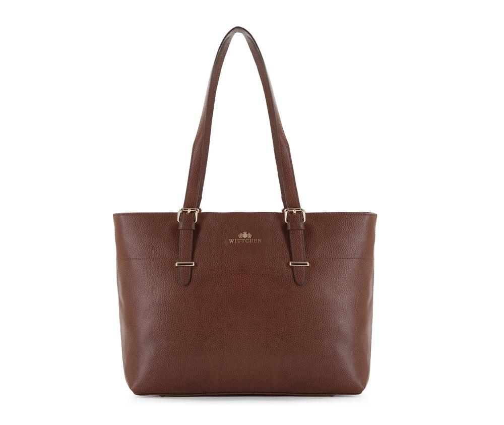 Женская сумкаЖенская сумка из коллекции Elegance&#13;<br>Основной отдел застегивается на молнию. Внутри два кармана на молнии, открытый карман для мелких предметов и отделение для мобильного телефона. Дно сумки защищено металлическими  ножками.<br><br>секс: женщина<br>Цвет: коричневый<br>материал:: натуральная кожа<br>высота (см):: 28<br>ширина (см):: 35 - 41<br>глубина (см):: 12.5<br>иное :: Вмещает формат А4<br>общая высота (см):: 53<br>длина ручки/ек (см):: 60