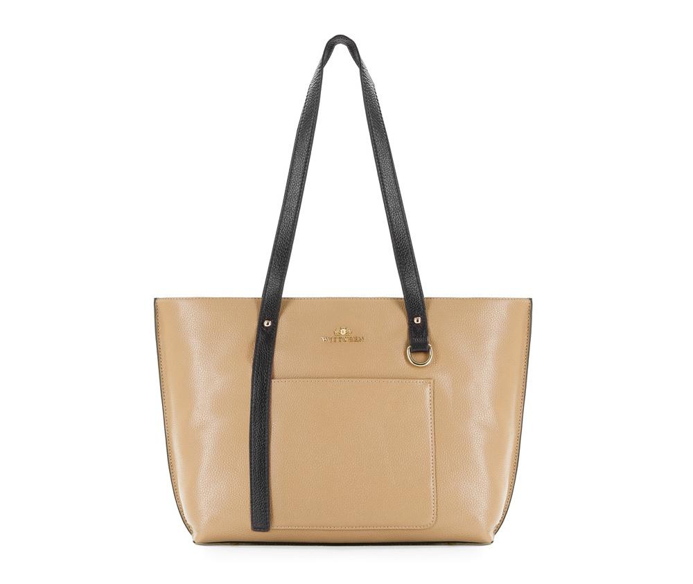 Женская сумка Wittchen 83-4E-424-9, темный бежевыйЖенская сумка из коллекции Elegance  нутри два кармана на молнии, открытый карман для мелких предметов и отделение для мобильного телефона. Снаружи на лицевой стороне открытый карман. Дно сумки защищено металлическими  ножками.<br><br>секс: женщина<br>Цвет: бежевый<br>вмещает формат А4: Вмещает формат А4<br>материал:: натуральная кожа<br>высота (см):: 25<br>ширина (см):: 31 - 40<br>глубина (см):: 15<br>общая высота (см):: 52<br>длина ручки/ек (см):: 63