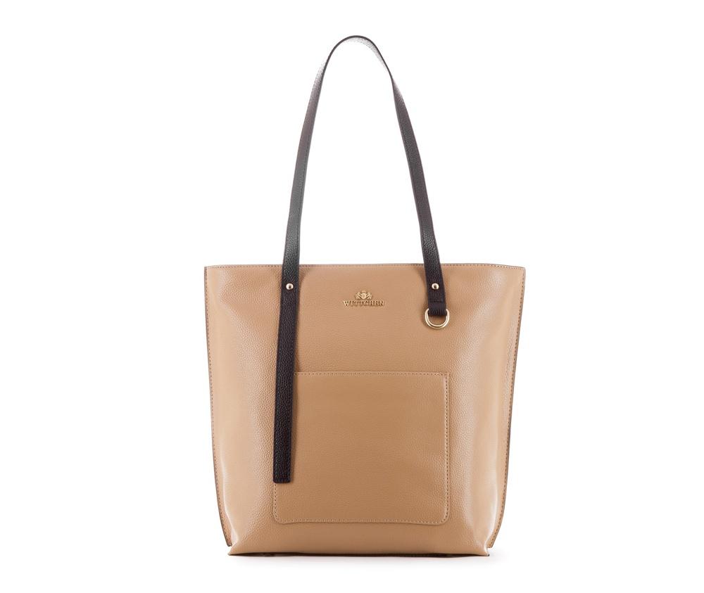 Женская сумка Wittchen 83-4E-425-9, темный бежевыйЖенская сумка из коллекции Elegance  нутри два кармана на молнии, открытый карман для мелких предметов и отделение для мобильного телефона. Снаружи на лицевой стороне открытый карман. Дно сумки защищено металлическими  ножками.<br><br>секс: женщина<br>Цвет: бежевый<br>вмещает формат А4: поместит формат A4<br>материал:: Натуральная кожа<br>высота (см):: 32.5<br>ширина (см):: 29 - 38<br>глубина (см):: 12<br>общая высота (см):: 59<br>длина ручки/ек (см):: 63