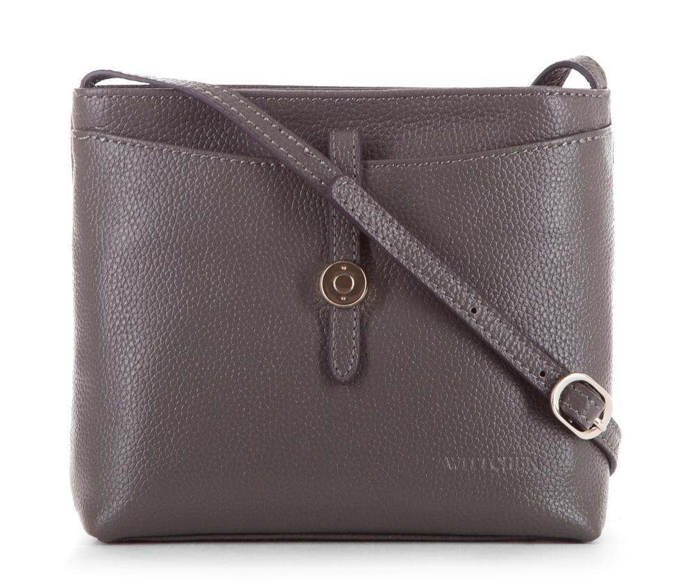 Женская сумкаЖенская сумка из коллекции Elegance&#13;<br>Основной отдел застегивается на молнию. Внутри карман на молнии и открытый карман для мелких предметов.Снаружи на лицевой стороне открытый карман закрывается ремешком. С тыльной стороны карман застегивается на молнию. Есть возможность регулировать длину ремня.<br><br>секс: женщина<br>Цвет: серый<br>материал:: Натуральная кожа<br>длина плечевого ремня (cм):: 110 - 123<br>высота (см):: 17<br>ширина (см):: 20<br>глубина (см):: 5