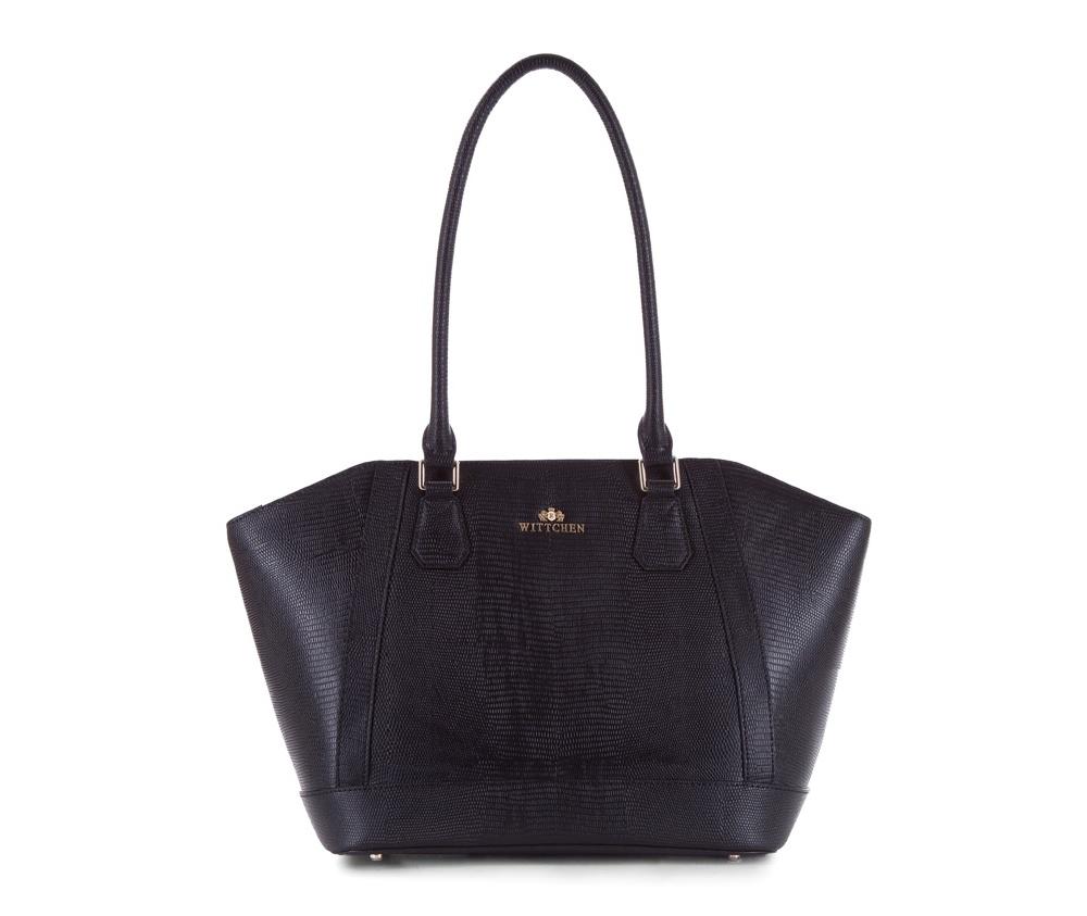 Женская сумкаЖенская сумка из коллекции Elegance&#13;<br>Основной отдел застегивается на молнию. Внутри двакармана на молнии, открытый карман для мелких предметов и отделение для мобильного телефона. Дно сумки защищено металлическими ножками.<br><br>секс: женщина<br>Цвет: черный<br>материал:: Натуральная кожа<br>высота (см):: 24 - 28<br>ширина (см):: 31 - 45<br>глубина (см):: 14<br>иное :: поместит формат А4<br>общая высота (см):: 53<br>длина ручки/ек (см):: 67
