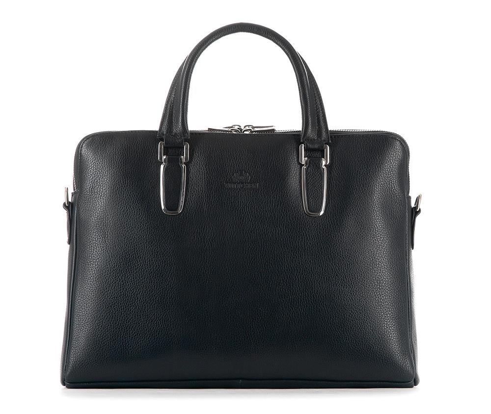 Женская сумкаЖенская сумка из коллекции Elegance&#13;<br>Два основных отдела застегиваются на молнию.Внутри карман на молнии, открытый карман для мелких предметов, отделение для мобильного телефона и 2 отделения для ручек. С тыльной стороны карман на молнии с ремнём , позволяющим крепление на ручке чемодана. Дополнительно прилагается съемный, регулируемый ремень.<br><br>секс: женщина<br>Цвет: черный<br>вмещает формат А4: поместит формат А4<br>материал:: Натуральная кожа<br>длина плечевого ремня (cм):: 75 - 140<br>высота (см):: 27<br>ширина (см):: 36<br>глубина (см):: 6<br>общая высота (см):: 38<br>длина ручки/ек (см):: 39