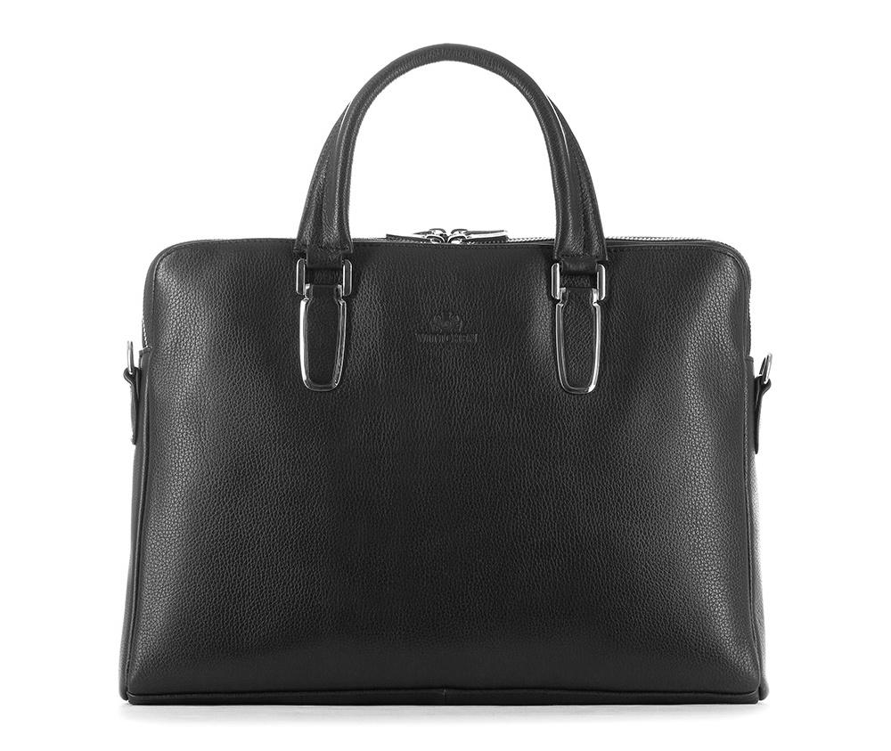 Женская сумкаЖенская сумка из коллекции Elegance&#13;<br>Два основных отдела застегиваются на молнию.Внутри карман на молнии, открытый карман для мелких предметов, отделение для мобильного телефона и 2 отделения для ручек. С тыльной стороны карман на молнии с ремнём , позволяющим крепление на ручке чемодана. Также карман , который вмещает устройства с максимальным размером 23 см x 32 см. Дополнительно прилагается съемный, регулируемый ремень.<br><br>секс: женщина<br>Цвет: черный<br>вмещает формат А4: поместит формат А4<br>материал:: Натуральная кожа<br>длина плечевого ремня (cм):: 72 - 133<br>высота (см):: 27.5<br>ширина (см):: 38<br>глубина (см):: 8<br>общая высота (см):: 39<br>длина ручки/ек (см):: 39