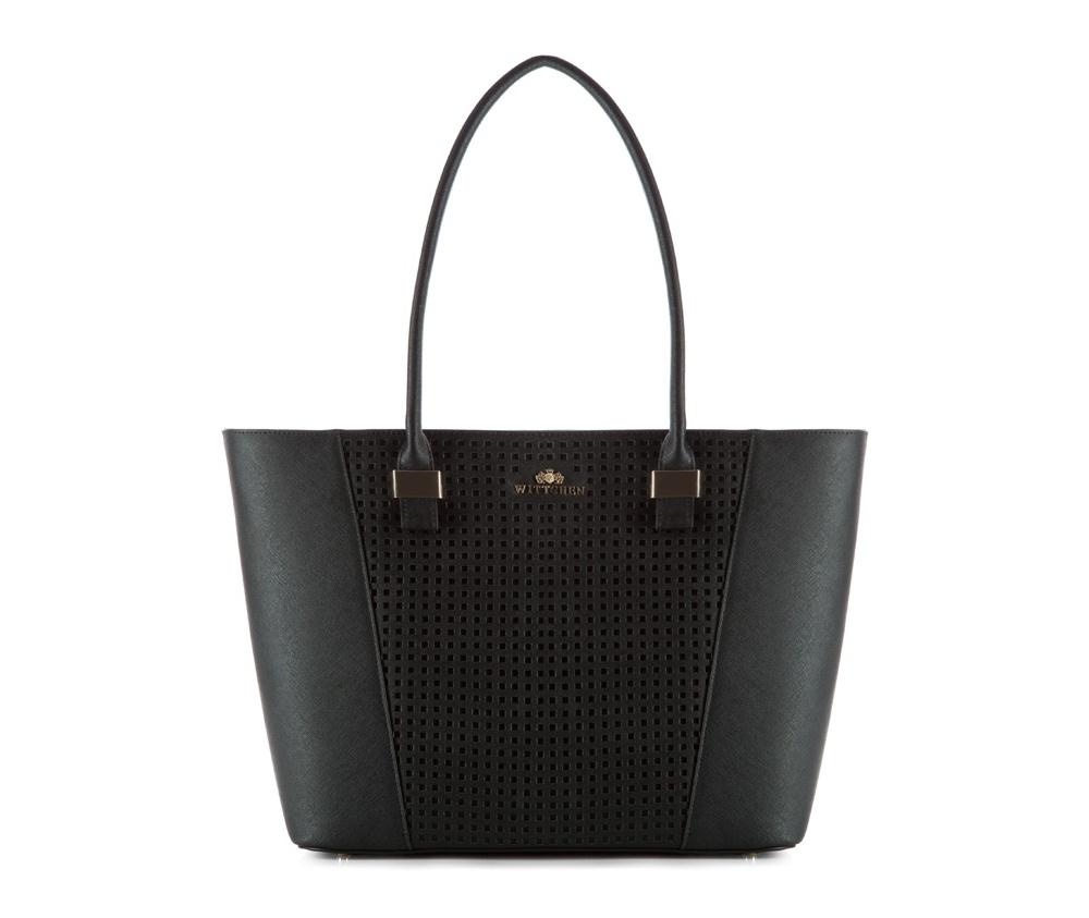 Женская сумкаЖенская сумка из коллекции Elegance.&#13;<br>Основной отдел застегивается на молнию. Внутри  2 кармана на молнии, открытый карман для мелких предметов и отделение для мобильного телефона.  Дно сумки защищено металлическими ножками.<br><br>секс: женщина<br>Цвет: черный<br>материал:: Натуральная кожа<br>высота (см):: 28<br>ширина (см):: 33 - 45<br>глубина (см):: 13<br>иное :: поместит формат А4<br>общая высота (см):: 55<br>длина ручки/ек (см):: 70