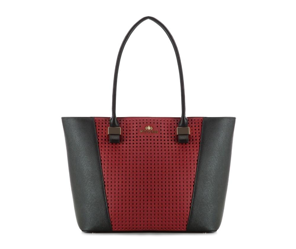 Женская сумкаЖенская сумка из коллекции Elegance.Основной отдел застегивается на молнию. Внутри  2 кармана на молнии, открытый карман для мелких предметов и отделение для мобильного телефона.  Дно сумки защищено металлическими ножками.<br><br>секс: женщина<br>Цвет: черный<br>материал:: Натуральная кожа<br>высота (см):: 28<br>ширина (см):: 33 - 45<br>глубина (см):: 13<br>иное :: поместит формат А4<br>общая высота (см):: 55<br>длина ручки/ек (см):: 70