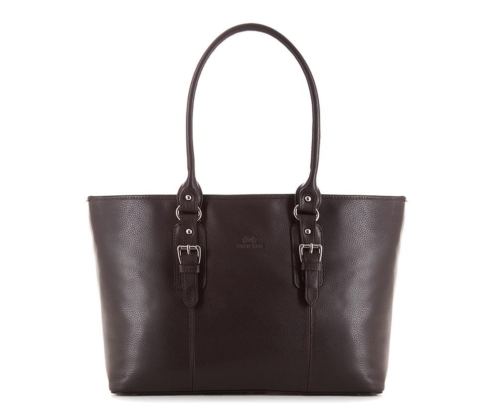 Женская сумкаЖенская сумка из коллекции Elegance&#13;<br>Основной отдел застегивается на молнию, разделен карманом на молнии.Внутри карман на молнии, открытый карман для мелких предметов и отделение для мобильного телефона. Дно сумки защищено металлическими ножками.<br><br>секс: женщина<br>Цвет: коричневый<br>материал:: Натуральная кожа<br>высота (см):: 27<br>ширина (см):: 37 - 47<br>глубина (см):: 13<br>иное :: поместит формат А4<br>общая высота (см):: 51<br>длина ручки/ек (см):: 65