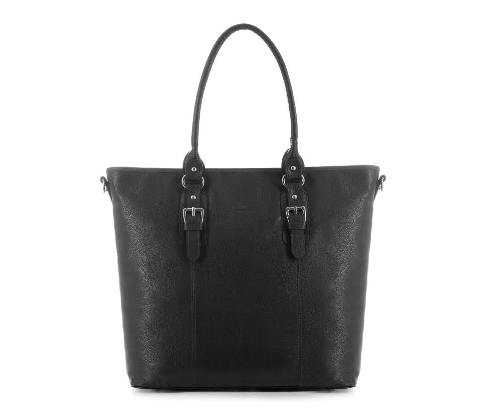 Женская сумкаЖенская сумка из коллекции Elegance&#13;<br>Основной отдел застегивается на молнию.Внутри карман на молнии, открытый карман для мелких предметов и отделение для мобильного телефона. С тыльной стороны   карман на молнии. &#13;<br>Дно сумки защищено металлическими  ножками. Дополнительно прилагается съемный, регулируемый ремень.<br><br>секс: женщина<br>Цвет: черный<br>вмещает формат А4: поместит формат А4<br>материал:: Натуральная кожа<br>длина плечевого ремня (cм):: 114 - 125<br>высота (см):: 34<br>ширина (см):: 34 - 44<br>глубина (см):: 13<br>общая высота (см):: 54<br>длина ручки/ек (см):: 56