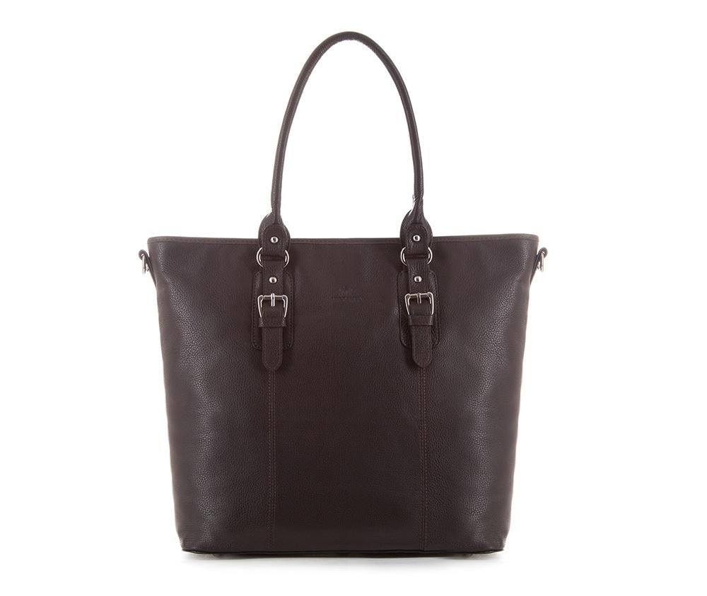 Женская сумкаЖенская сумка из коллекции Elegance&#13;<br>Основной отдел застегивается на молнию.Внутри карман на молнии, открытый карман для мелких предметов и отделение для мобильного телефона. С тыльной стороны   карман на молнии. &#13;<br>Дно сумки защищено металлическими  ножками. Дополнительно прилагается съемный, регулируемый ремень.<br><br>секс: женщина<br>Цвет: коричневый<br>материал:: Натуральная кожа<br>длина плечевого ремня (cм):: 114 - 125<br>высота (см):: 34<br>ширина (см):: 34 - 44<br>глубина (см):: 13<br>иное :: поместит формат А4<br>общая высота (см):: 54<br>длина ручки/ек (см):: 56