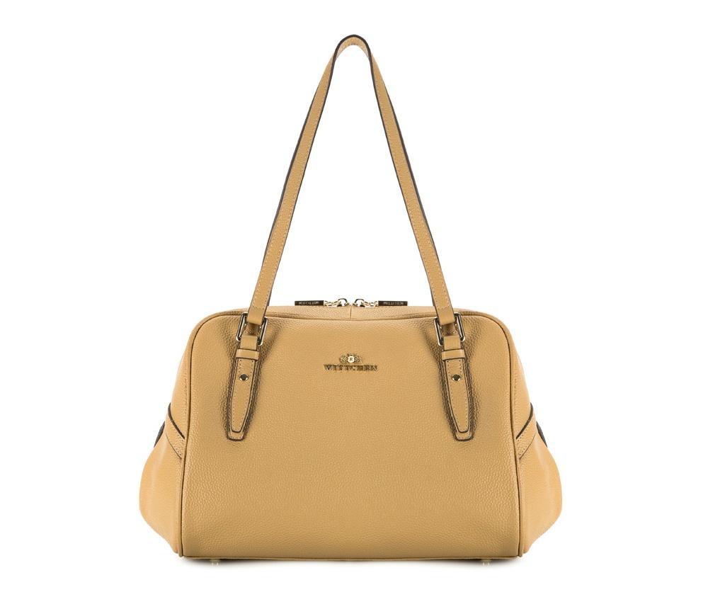 Женская сумкаЖенская сумка из коллекции Elegance &#13;<br>Основной отдел     застегивается на молнию. Внутри два отделения на  молнии, открытый  карман  для     мелких предметов и отделение для  мобильного телефона.  Дополнительно съемный плечевой ремень.<br><br>секс: женщина<br>Цвет: бежевый<br>материал:: натуральная кожа<br>высота (см):: 23<br>ширина (см):: 31<br>глубина (см):: 11<br>длина плечевого ремня (cм):: 106 - 119<br>общая высота (см):: 47<br>длина ручки/ек (см):: 64