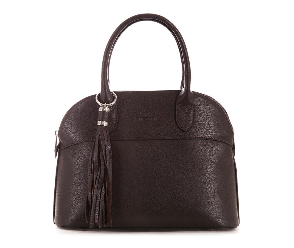 Женская сумкаЖенская сумка из коллекции Elegance&#13;<br>Основной отдел застегивается на молнию.Внутри карман на молнии, открытый карман для мелких предметов и отделение для мобильного телефона. С тыльной стороны   карман на молнии. &#13;<br>Дно сумки защищено металлическими  ножками. Дополнительно прилагается съемный, регулируемый ремень.<br><br>секс: женщина<br>Цвет: коричневый<br>материал:: Натуральная кожа<br>длина плечевого ремня (cм):: 108<br>высота (см):: 22<br>ширина (см):: 30<br>глубина (см):: 11<br>общая высота (см):: 35<br>длина ручки/ек (см):: 40