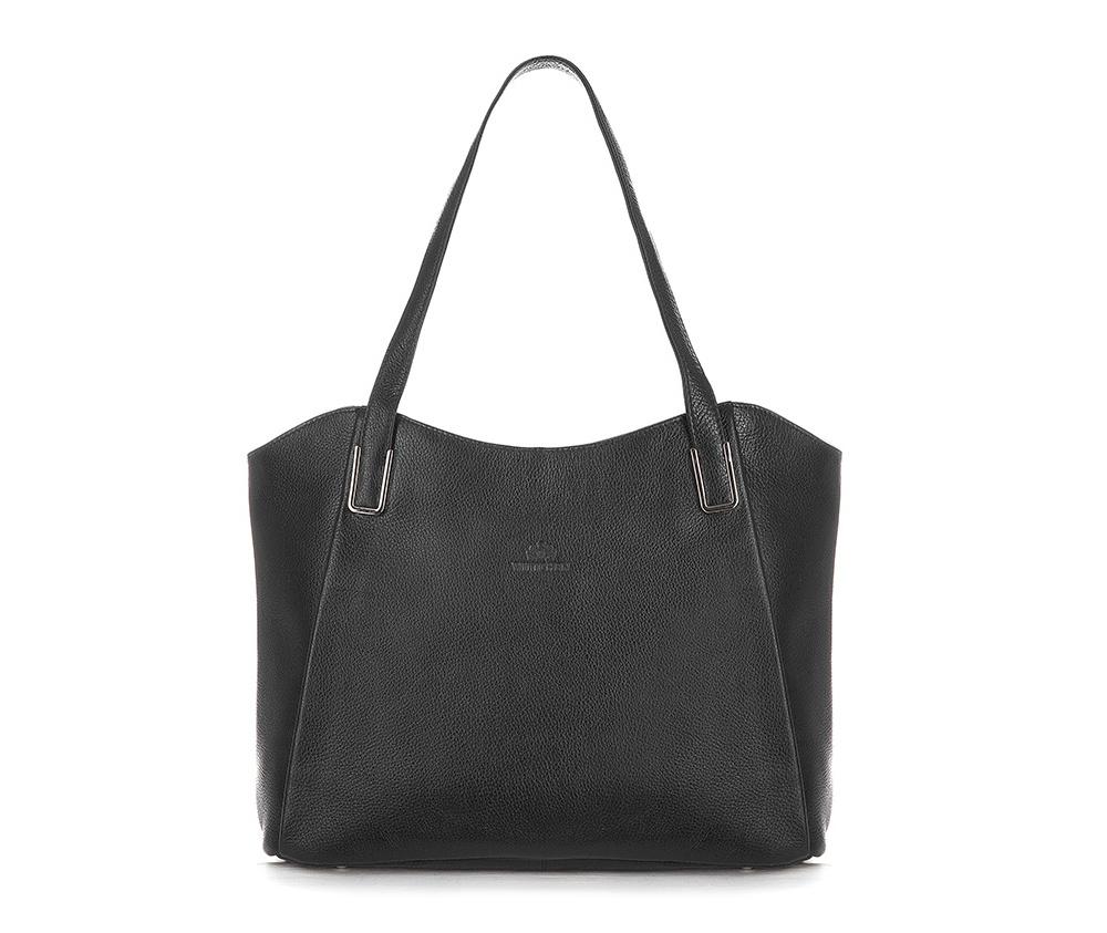 Женская сумкаЖенская сумка из коллекции Elegance&#13;<br>Основной отдел застегивается на молнию.Внутри карман на молнии, открытый карман для мелких предметов и отделение для мобильного телефона. С тыльной стороны   карман на молнии.<br><br>секс: женщина<br>Цвет: черный<br>вмещает формат А4: поместит формат А4<br>материал:: Натуральная кожа<br>высота (см):: 25 - 27<br>ширина (см):: 34 - 38<br>глубина (см):: 12<br>общая высота (см):: 51<br>длина ручки/ек (см):: 61