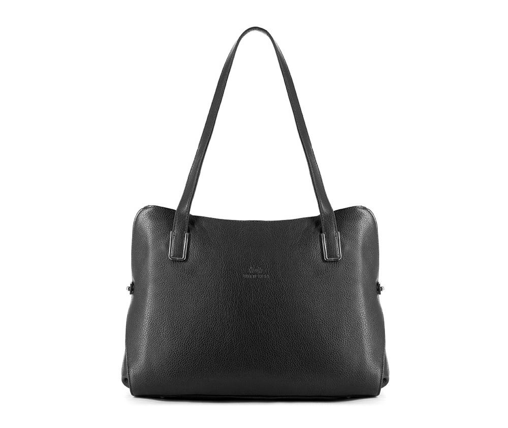 Женская сумкаЖенская сумка из коллекции Elegance&#13;<br>Основной отдел застегивается на молнию, разделен карманом на молнии.Внутри карман на молнии, открытый карман для мелких предметов и отделение для мобильного телефона. С тыльной стороны   карман на молнии.<br><br>секс: женщина<br>Цвет: черный<br>вмещает формат А4: поместит формат А4<br>материал:: Натуральная кожа<br>высота (см):: 26<br>ширина (см):: 31 - 35<br>глубина (см):: 11<br>общая высота (см):: 52<br>длина ручки/ек (см):: 67