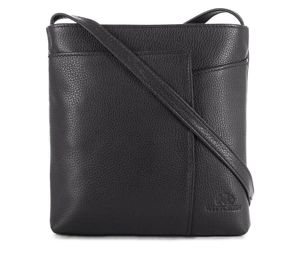 Женская сумкаЖенская сумка из коллекции Elegance&#13;<br>Основной отдел застегивается на молнию.Внутри карман на молнии и открытый карман для мелких предметов. Спереди на лицевой стороне меньший открытый карман и карман , который закрывается на магнитную застежку.С тыльной стороны карман на молнии. Есть возможность регулировать длину ремня.<br><br>секс: женщина<br>Цвет: черный<br>материал:: Натуральная кожа<br>длина плечевого ремня (cм):: 117 - 127<br>высота (см):: 20.5<br>ширина (см):: 20<br>глубина (см):: 3