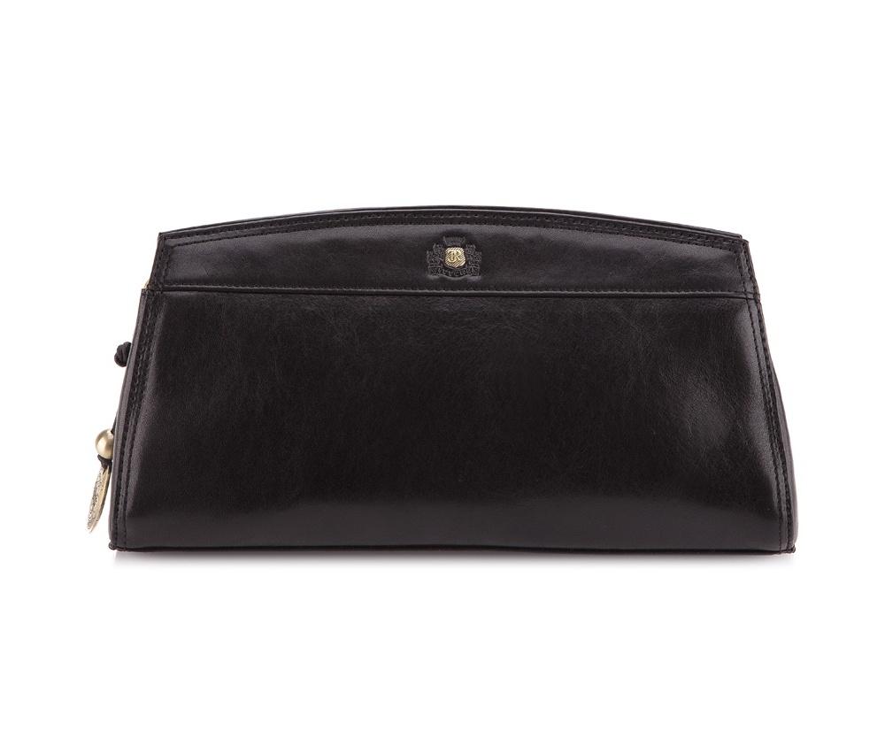 КлатчЭлегантный женский клатч из коллекци Da Vinci  Основное отделение на 2-х магнитах, внутри карман на молнии, дополнительно 2 съемных ремня позволяющих носить сумочку в руке так и на на плече.<br><br>секс: женщина<br>Цвет: черный<br>материал:: натуральная кожа<br>высота (см):: 16<br>ширина (см):: 29<br>глубина (см):: 3.5