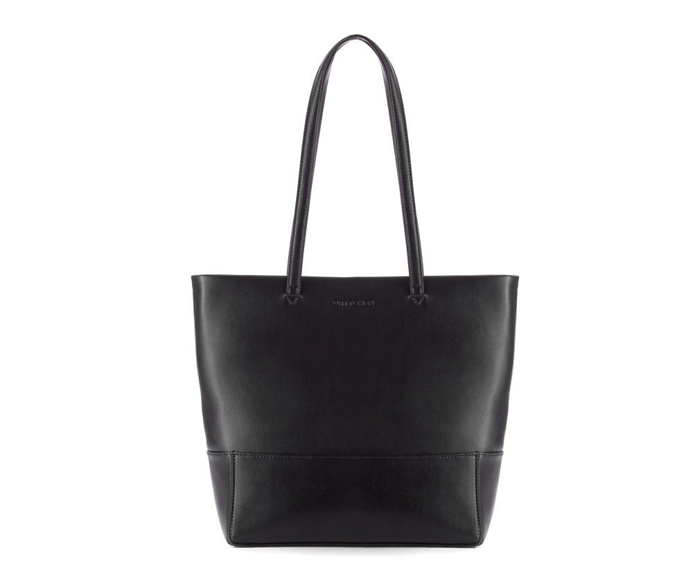 Женская сумкаЖенская сумка из коллекции Elegance&#13;<br>Основной отдел застегивается на молнию.Внутри карман на молнии, открытый карман для мелких предметов и отделение для мобильного телефона.<br><br>секс: женщина<br>Цвет: черный<br>вмещает формат А4: поместит формат А4<br>материал:: Натуральная кожа<br>высота (см):: 30<br>ширина (см):: 29 - 35<br>глубина (см):: 10<br>общая высота (см):: 55<br>длина ручки/ек (см):: 63