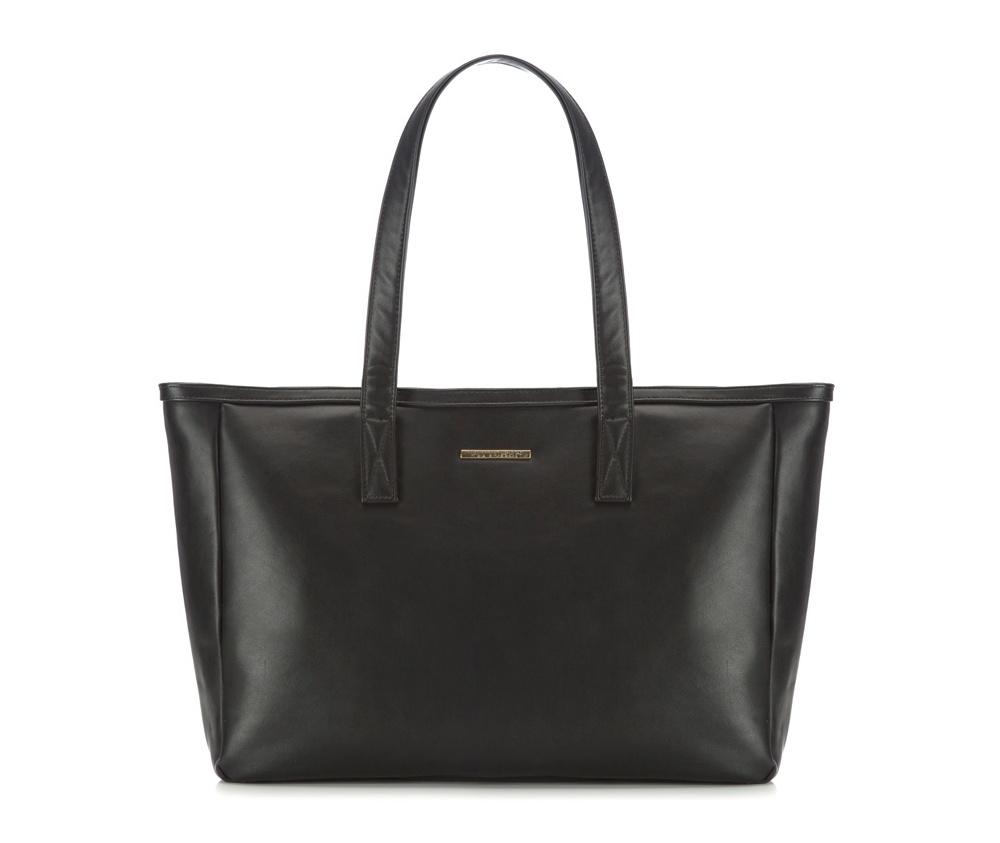 Женская сумкаЖенская сумка из коллекции E-BAG&#13;<br>E-BAG представляет собой сочетание классического стиля и современных решений. Кроме того, интересные цвета подкладки придает сумке оригинальный вид.&#13;<br>Внутри специальные перегородки  для аксессуаров, которые позволяют сохранить порядок внутри сумки.  &#13;<br>Основное отделение закрывается на молнию. Внутри  карман для устройств с максимальными размерами: 23 см x 38 см, карман на  молнии, отделение для мобильного телефона, карман для наушников, 2  места для ручек и карман для элементов питания. &#13;<br>По бокам два  открытых кармана для мелких предметов.Дополнительно прилагается съемный, регулируемый ремень.<br><br>секс: женщина<br>Цвет: черный<br>материал:: Экокожа<br>ширина (см):: 40 - 49<br>высота (см):: 30<br>глубина (см):: 13<br>размер:: поместит формат А4<br>длина ручки/ек (см):: 63