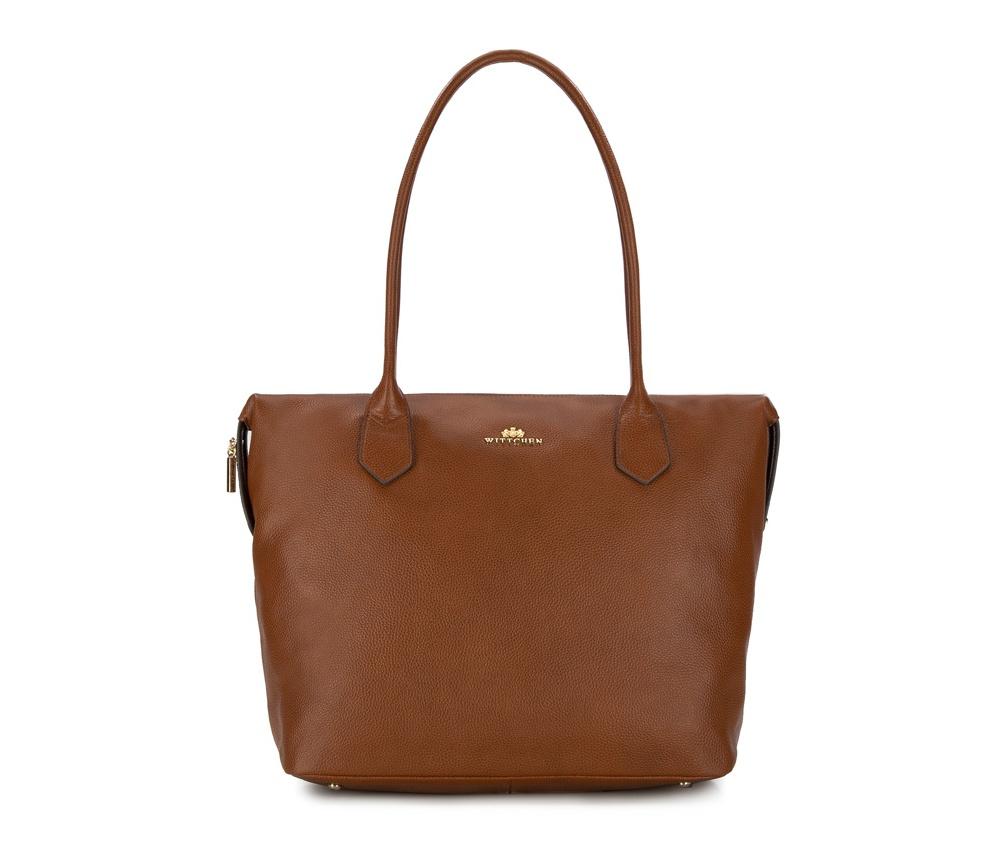 Женская сумкаЖенская сумка из коллекции Elegance 2016&#13;<br>Основной отдел      застегивается на молнию. Внутри два отделения на    молнии, открытый    карман для     мелких предметов и отделение для    мобильного телефона.   На  тыльной  стороне отделение на молнии. Дно сумки   защищено     металлическими   ножками.<br><br>секс: женщина<br>Цвет: коричневый<br>материал:: натуральная кожа<br>высота (см):: 32<br>ширина (см):: 36 - 47<br>глубина (см):: 18<br>общая высота (см):: 57<br>длина ручки/ек (см):: 70