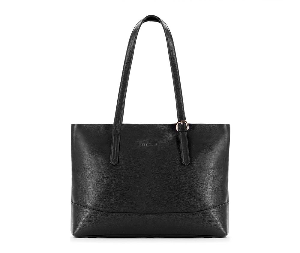 Женская сумкаЖенская сумка из коллекции Elegance&#13;<br>Основной отдел застегивается на молнию.Внутри карман на молнии, открытый карман для мелких предметов и отделение для мобильного телефона.<br><br>секс: женщина<br>Цвет: черный<br>вмещает формат А4: поместит формат А4<br>материал:: Натуральная кожа<br>высота (см):: 29<br>ширина (см):: 38 - 40<br>глубина (см):: 12.5<br>общая высота (см):: 55<br>длина ручки/ек (см):: 59
