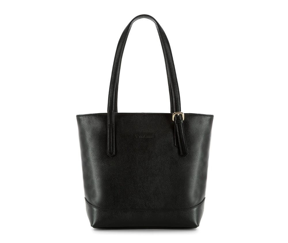 Женская сумкаЖенская сумка из коллекции Elegance&#13;<br>Основной отдел застегивается на молнию.Внутри карман на молнии, открытый карман для мелких предметов и отделение для мобильного телефона. С тыльной стороны   карман на молнии.<br><br>секс: женщина<br>Цвет: черный<br>вмещает формат А4: поместит формат А4<br>материал:: Натуральная кожа<br>высота (см):: 30<br>ширина (см):: 28 - 36<br>глубина (см):: 11<br>общая высота (см):: 56<br>длина ручки/ек (см):: 60