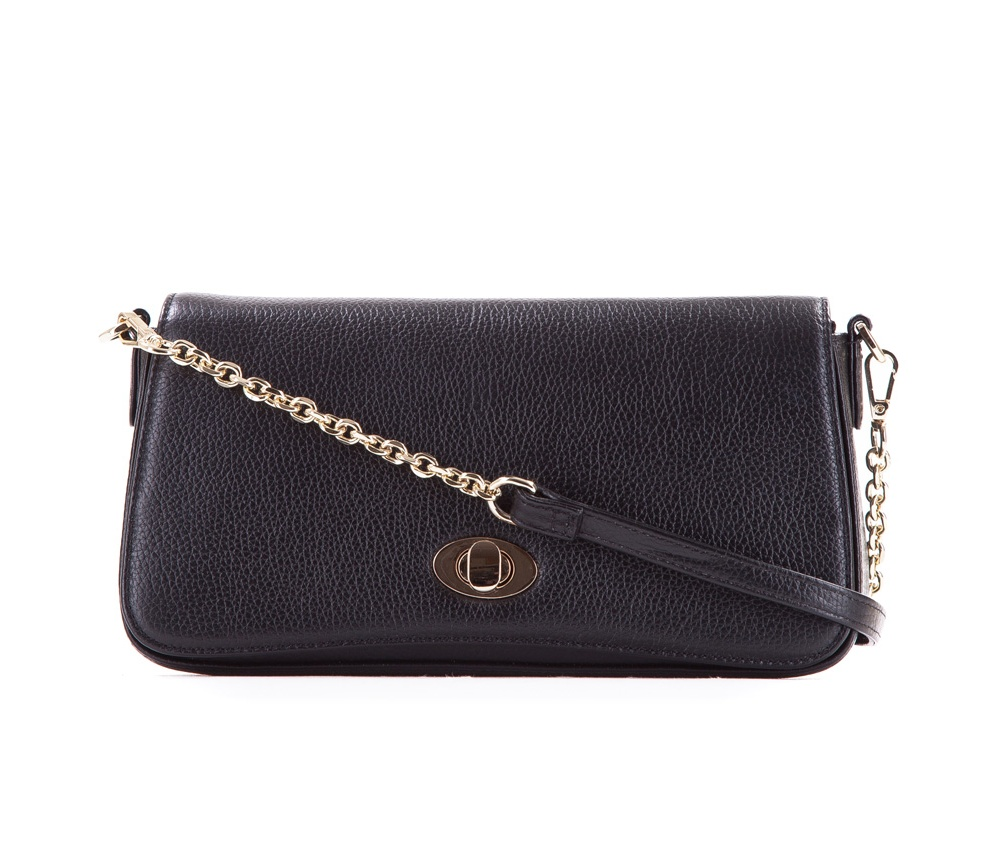 Женская сумкаЖенская сумка из коллекции Elegance&#13;<br> Основной отдел застегивается на молнию. Внутри карман на молнии и открытый  карман для мелких предметов. Сумка закрывается клапаном на металлическую застежку. Дополнительтно два съемных ремня, один из которых можно регулировать по длине.<br><br>секс: женщина<br>Цвет: черный<br>материал:: Натуральная кожа<br>длина плечевого ремня (cм):: 90 / 115 - 129<br>высота (см):: 14<br>ширина (см):: 24 - 26<br>глубина (см):: 6