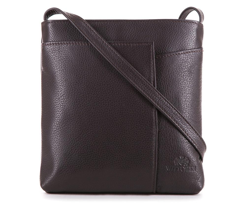 Женская сумкаЖенская сумка из коллекции Elegance&#13;<br>Основной отдел застегивается на молнию.Внутри карман на молнии и открытый карман для мелких предметов. Спереди на лицевой стороне меньший открытый карман и карман , который закрывается на магнитную застежку.С тыльной стороны карман на молнии. Есть возможность регулировать длину ремня.<br><br>секс: женщина<br>Цвет: коричневый<br>материал:: Натуральная кожа<br>длина плечевого ремня (cм):: 117 - 127<br>высота (см):: 20.5<br>ширина (см):: 20<br>глубина (см):: 3