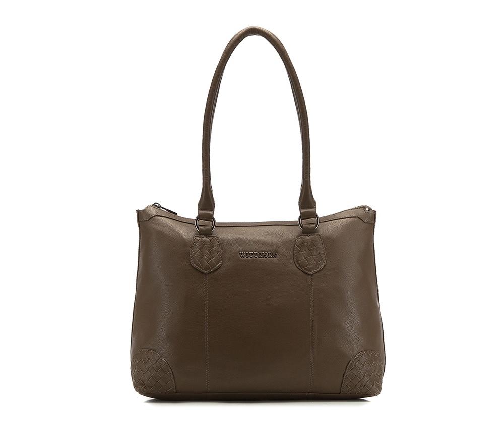 Женская сумкаЖенская сумка из коллекции Elegance 2016&#13;<br>Основное  отделение на молнии. Внутри сумки отделение на молнии,  открытый карман для мелких предметов, отделение для мобильного  телефона и крепление для ручки.<br><br>секс: женщина<br>Цвет: коричневый<br>материал:: натуральная кожа<br>длина плечевого ремня (cм):: 66<br>высота (см):: 28<br>ширина (см):: 36 - 44<br>глубина (см):: 14<br>общая высота (см):: 53