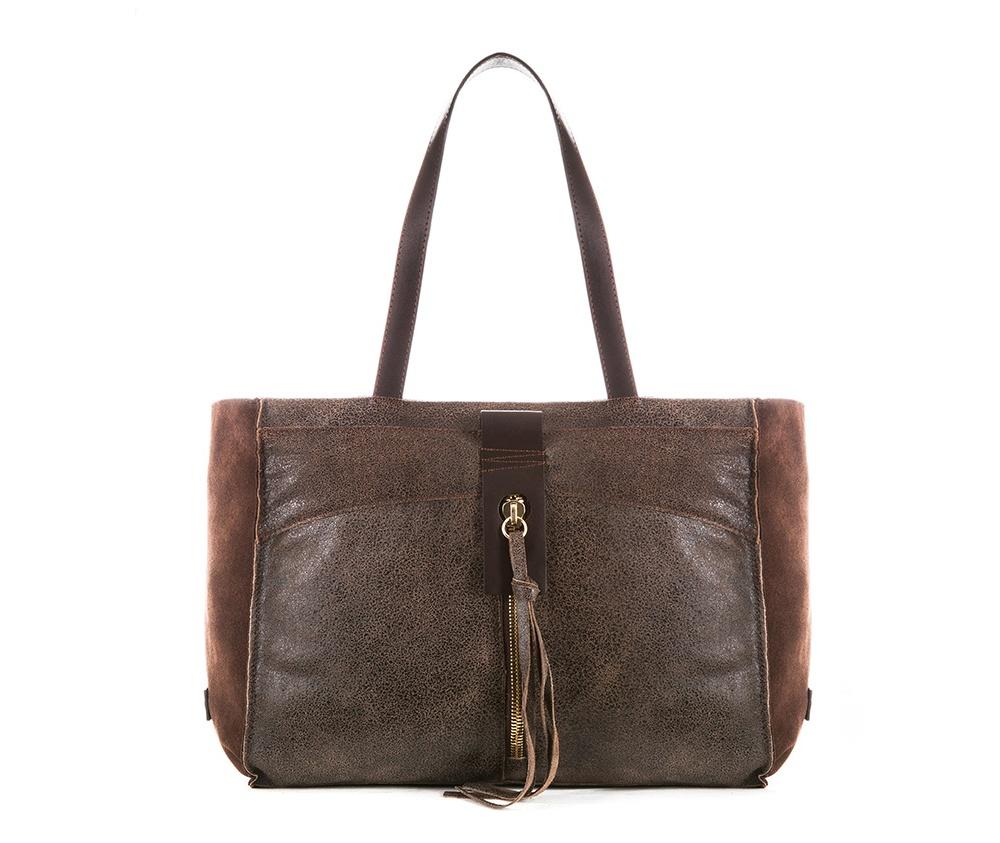 Женская сумкаЖенская сумка из коллекции Elegance&#13;<br>Открытое основное отделение, внутри карман на молнии. Внутри карман на молнии, открытый карман для мелких предметов и отделение для мобильного телефона. На лицевой стороне снаружи карман на молнии.<br><br>секс: женщина<br>Цвет: коричневый<br>материал:: Натуральная кожа<br>высота (см):: 25<br>ширина (см):: 36 - 51<br>глубина (см):: 13<br>общая высота (см):: 46<br>длина ручки/ек (см):: 54