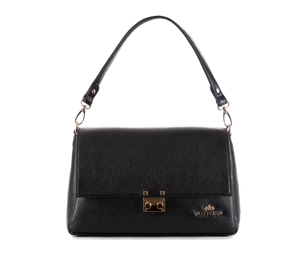 Женская сумкаЖенская сумка из коллекции Elegance&#13;<br>Три основных отдела застегиваются на молнию. Внутри карман на молнии, открытый карман для мелких предметов и отделение для мобильного телефона. Сумка закрывается клапаном на металлическую застежку. Дополнительно прилагаются два съемных ремешка, один из которых регулируемый.<br><br>секс: женщина<br>Цвет: черный<br>материал:: Натуральная кожа<br>длина плечевого ремня (cм):: 96 - 116<br>высота (см):: 20<br>ширина (см):: 29<br>глубина (см):: 11<br>общая высота (см):: 44