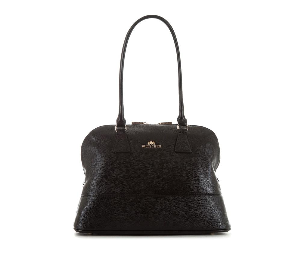 Женская сумкаЖенская сумка из коллекции Elegance&#13;<br>Основной отдел застегивается на молнию, разделен карманом на молнии. Внутри карман на молнии, открытый карман для мелких предметов и отделение для мобильного телефона. С тыльной стороны карман на молнии. Дно сумки защищено металлическими  ножками.<br><br>секс: женщина<br>Цвет: черный<br>вмещает формат А4: Вмещает формат А4<br>материал:: натуральная кожа<br>высота (см):: 28<br>ширина (см):: 34 - 38<br>глубина (см):: 12<br>общая высота (см):: 53<br>длина ручки/ек (см):: 68
