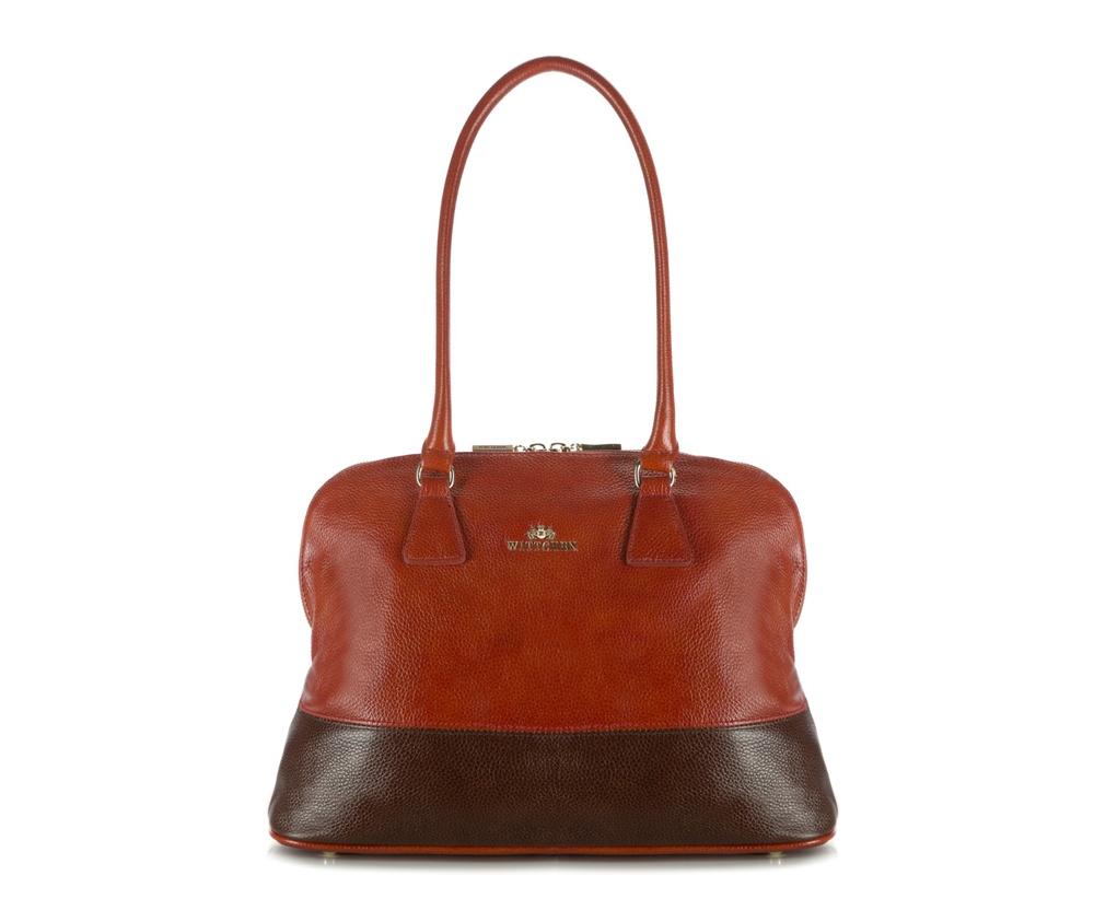 Женская сумкаЖенская сумка из коллекции Elegance&#13;<br>Основной отдел застегивается на молнию, разделен карманом на молнии. Внутри карман на молнии, открытый карман для мелких предметов и отделение для мобильного телефона. С тыльной стороны карман на молнии. Дно сумки защищено металлическими  ножками.<br><br>секс: женщина<br>Цвет: коричневый<br>вмещает формат А4: Вмещает формат А4<br>материал:: натуральная кожа<br>высота (см):: 28<br>ширина (см):: 34 - 38<br>глубина (см):: 12<br>общая высота (см):: 53<br>длина ручки/ек (см):: 68