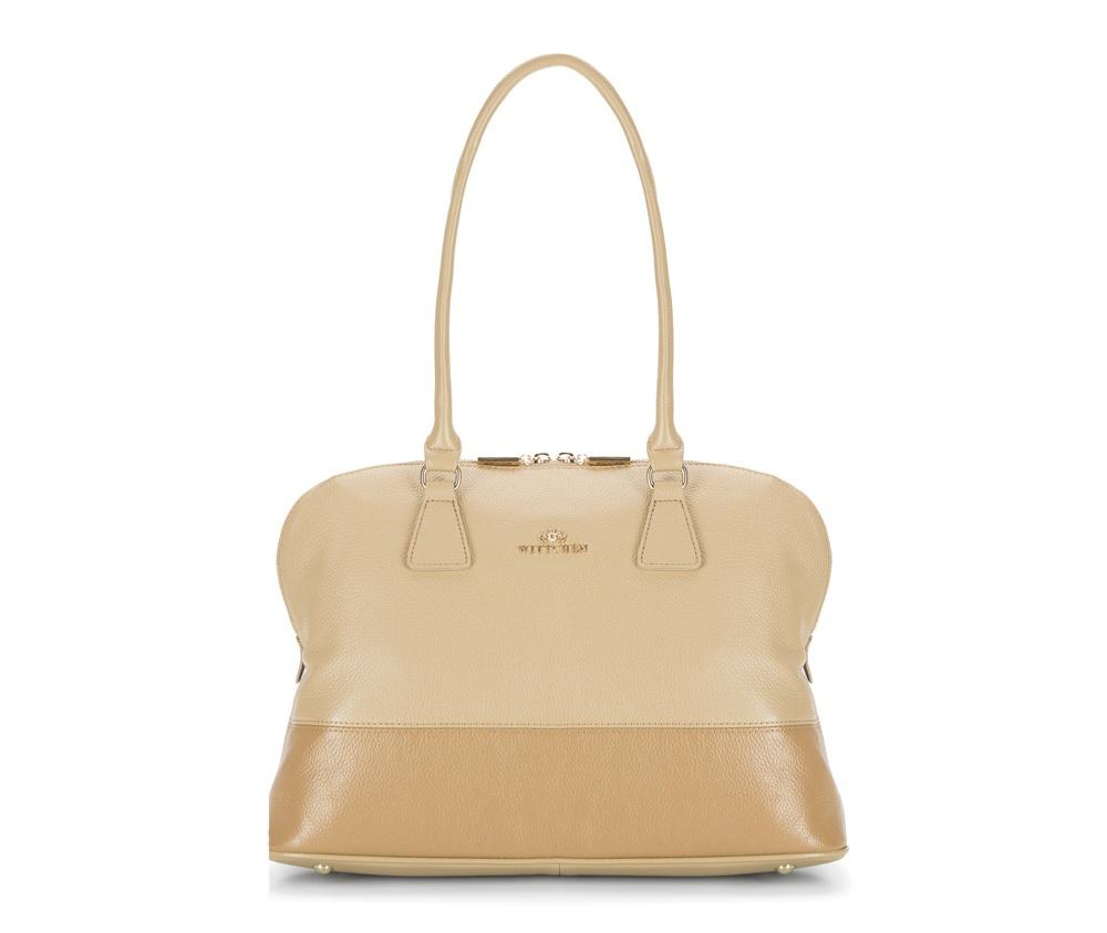 Женская сумкаЖенская сумка из коллекции Elegance&#13;<br>Основной отдел застегивается на молнию, разделен карманом на молнии. Внутри карман на молнии, открытый карман для мелких предметов и отделение для мобильного телефона. С тыльной стороны карман на молнии. Дно сумки защищено металлическими  ножками.<br><br>секс: женщина<br>Цвет: бежевый<br>материал:: натуральная кожа<br>высота (см):: 28<br>ширина (см):: 34 - 38<br>глубина (см):: 12<br>иное :: Вмещает формат А4<br>общая высота (см):: 53<br>длина ручки/ек (см):: 68