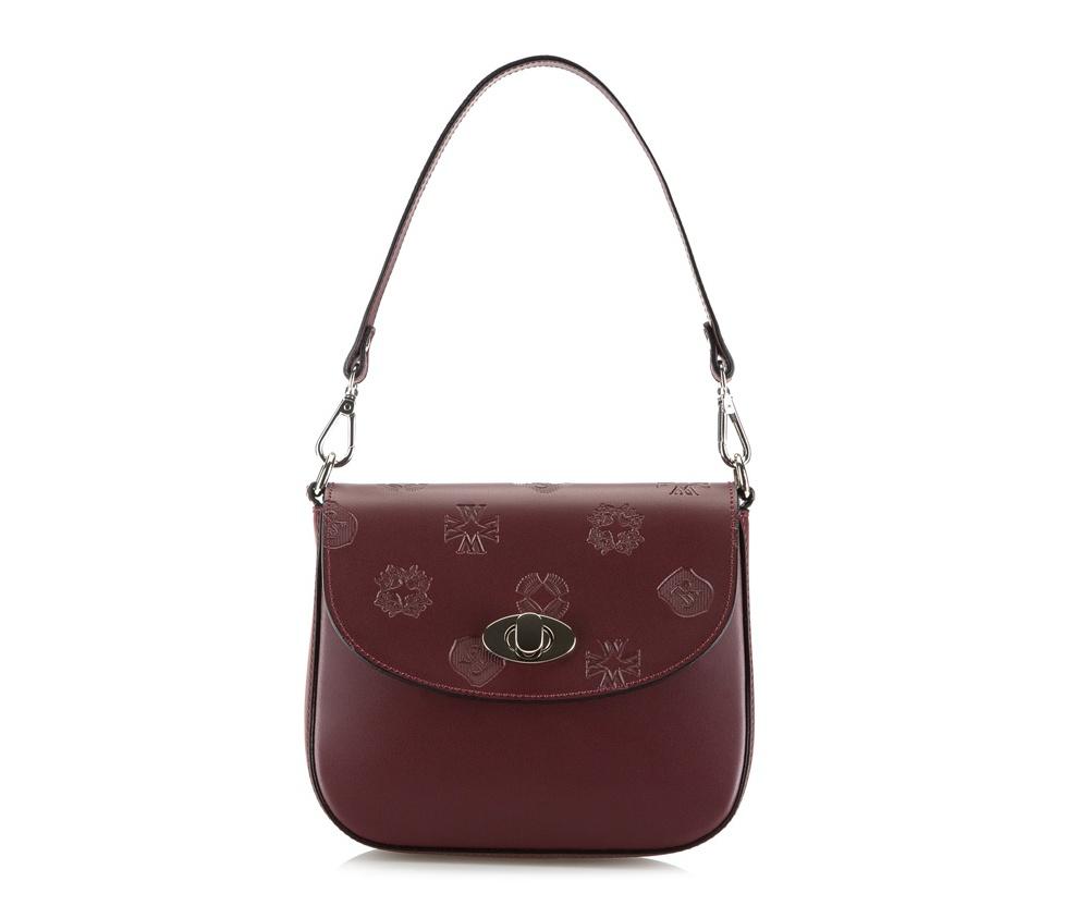 Женская сумкаЖенская сумка из коллекции Elegance Осень / Зима 2015- 2016&#13;<br>Открытое основное отделение, внутри отделение на молнии. Сумка закрывается при помощи клапана на замок. Дополнительно два съемных ремня, один из них с регулируемой длиной.<br><br>секс: женщина<br>Цвет: красный<br>материал:: натуральная кожа<br>высота (см):: 16<br>ширина (см):: 18<br>глубина (см):: 7