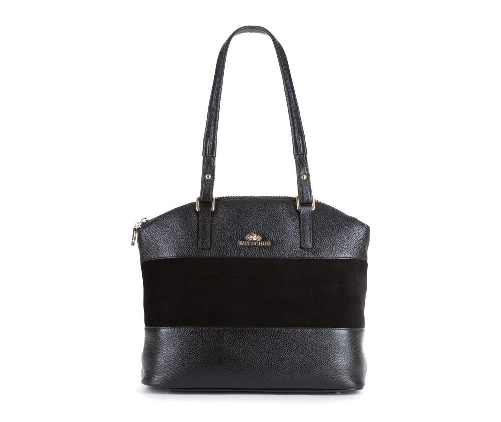 Женская сумкаЖенская сумка из коллекции Elegance&#13;<br>Основной отдел застегивается на молнию.Внутрикарман на молнии, открытый карман для мелких предметов и отделение для мобильного телефона.С тыльной стороныкарман застегивается на молнию.Дно сумки защищено металлическими ножками.<br><br>секс: женщина<br>Цвет: черный<br>вмещает формат А4: поместит формат А4<br>материал:: Натуральная кожа<br>высота (см):: 25 - 30<br>ширина (см):: 34 - 36<br>глубина (см):: 13<br>общая высота (см):: 57<br>длина ручки/ек (см):: 68