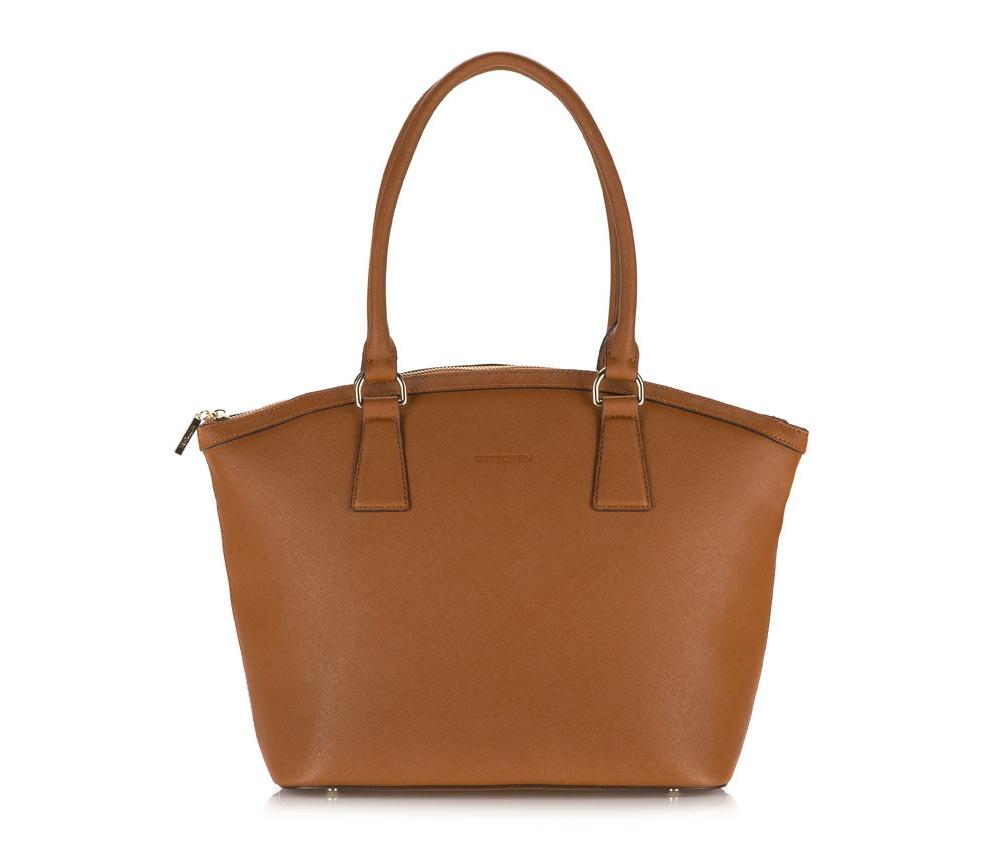 Женская сумкаЖенская сумка из коллекции Elegance&#13;<br>Основное отделение на молнии, разделено пополам отделением на молнии. Внутри три отделения, два из которых на молнии и отделение для мобильного телефона. Дно сумки защищено металлическими ножками.<br><br>секс: женщина<br>Цвет: коричневый<br>материал:: натуральная кожа<br>длина плечевого ремня (cм):: 60<br>высота (см):: 30<br>ширина (см):: 30 - 43<br>глубина (см):: 15<br>общая высота (см):: 52