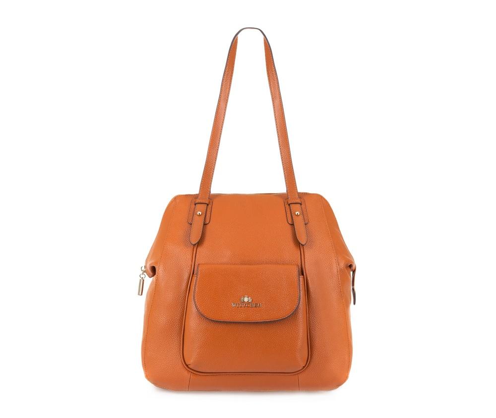 Женская сумкаЖенская сумка из коллекции Elegance. &#13;<br>Основной отдел  застегивается на молнию. Внутри 2 отделения на  молнии, открытый  карман для мелких предметов и отделение для мобильного  телефона. С  лицевой стороны карман на магнитной застежке. С тыльной  стороны карман  на молнии.<br><br>секс: женщина<br>Цвет: коричневый<br>вмещает формат А4: поместит формат А4<br>материал:: Натуральная кожа<br>высота (см):: 35<br>ширина (см):: 26 - 32<br>глубина (см):: 16<br>общая высота (см):: 61<br>длина ручки/ек (см):: 64