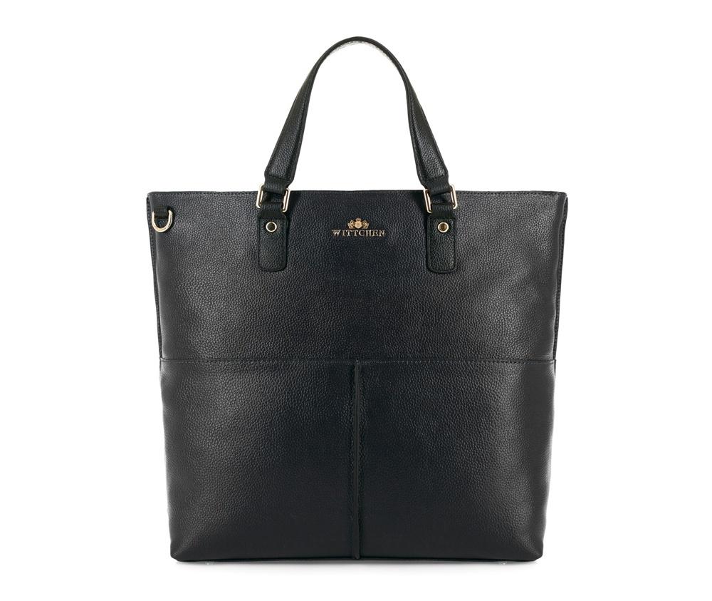 Женская сумкаЖенская сумка из коллекции Elegance. &#13;<br>Основной отдел застегивается на молнию, разделен карманом на молнии. Внутри 2 кармана на молнии, открытый карман для мелких предметов и отделение для мобильного телефона.С тыльной стороны карман на молнии. Дно сумки защищено металлическими ножками. Дополнительно прилагается съемный, регулируемый ремешок.<br><br>секс: женщина<br>Цвет: черный<br>вмещает формат А4: поместит формат А4<br>материал:: Натуральная кожа<br>длина плечевого ремня (cм):: 107 - 119<br>высота (см):: 35<br>ширина (см):: 33<br>глубина (см):: 15<br>общая высота (см):: 48<br>длина ручки/ек (см):: 36