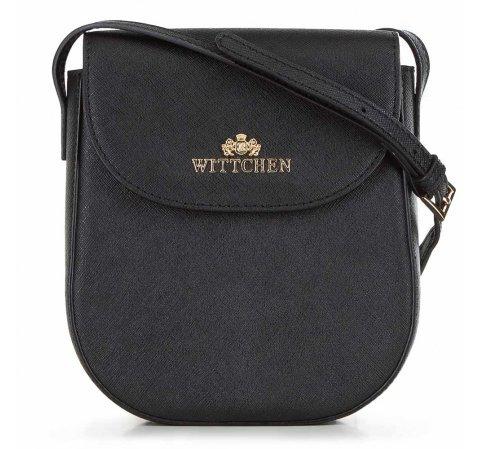 Damska listonoszka skórzana saddle bag  pionowa, czarny, 91-4-408-1, Zdjęcie 1