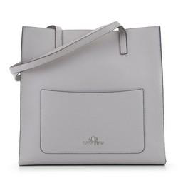 Shopperka ze skóry minimalistyczna, szary, 91-4-531-8, Zdjęcie 1