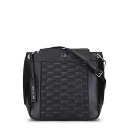 Damska torebka ze skóry z pikowaniem, czarny, 91-4E-620-1, Zdjęcie 1
