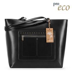 Torebka shopperka z ekoskóry prostokątna, czarny, 91-4Y-250-1, Zdjęcie 1
