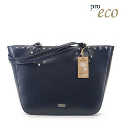 Faux leather winged shopper bag, navy blue, 91-4Y-253-7, Photo 1