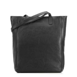 Torebka shopperka skórzana podłużna, czarny, 91-4E-300-1, Zdjęcie 1
