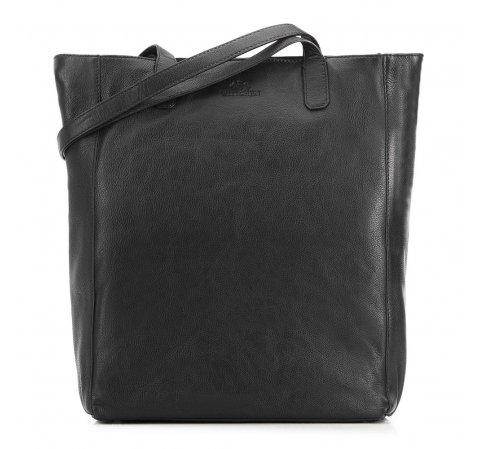 Torebka shopperka skórzana podłużna, czarny, 91-4E-300-2, Zdjęcie 1