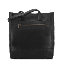 skórzana torebka damska typu shopper, czarny, 91-4E-301-1, Zdjęcie 1