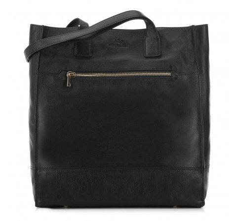 skórzana torebka damska typu shopper, czarny, 91-4E-301-9, Zdjęcie 1