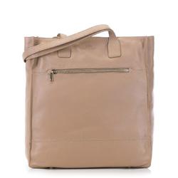 skórzana torebka damska typu shopper, beżowy, 91-4E-301-9, Zdjęcie 1