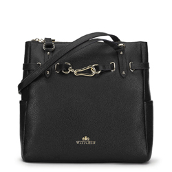 Leather shopper bag with gold-tone buckle, black, 91-4E-600-1, Photo 1