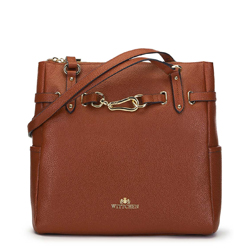 Leather shopper bag with gold-tone buckle, brown, 91-4E-600-5, Photo 1