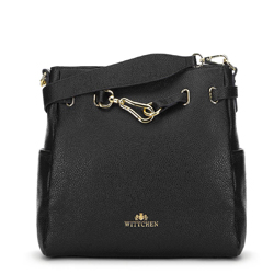Leather hobo bag with decorative buckle, black, 91-4E-601-1, Photo 1