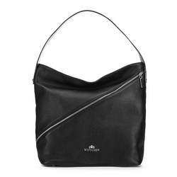 Leather hobo bag with zip detail, black, 91-4E-606-1, Photo 1